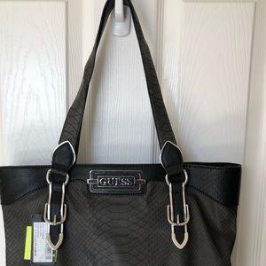 Guess Large Black Faux Leather Satchel Bag Purse